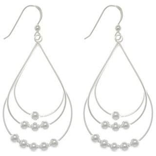 Silver Beaded Teardrop Long Earrings