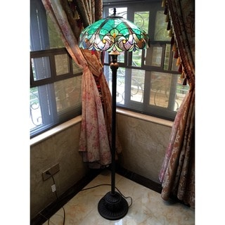 Tiffany Style Victorian Torchiere Bronze Finish Floor Lamp
