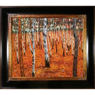 Gustav Klimt 'Beech Forest I' Hand Painted Framed Canvas Art