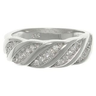 Sterling Silver CZ Diagonal Swirl Ring