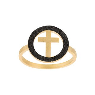 Yellow Goldplated Sterling Silver CZ Cross Ring