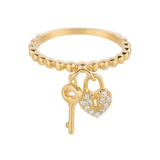Yellow Goldplated Sterling Silver CZ Key and Heart Charm Ring