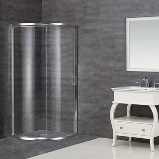 Aston 36-in x 36-in Neo-Round Semi-Frameless Bypass Shower Enclosure in Chrome