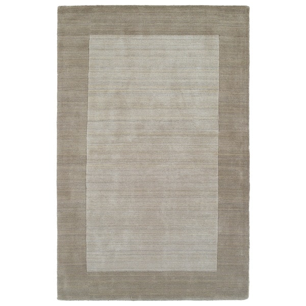 Borders Hand-Tufted Ivory Wool Rug - 5' x 7'9