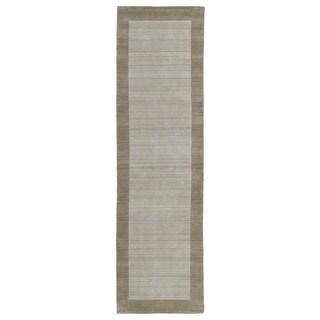 Borders Hand-Tufted Ivory Wool Rug (2'6 x 8'9)