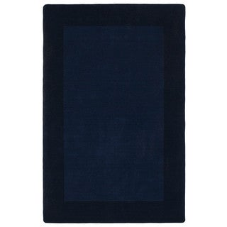 Borders Hand-Tufted Navy Wool Rug (5'0 x 7'9)