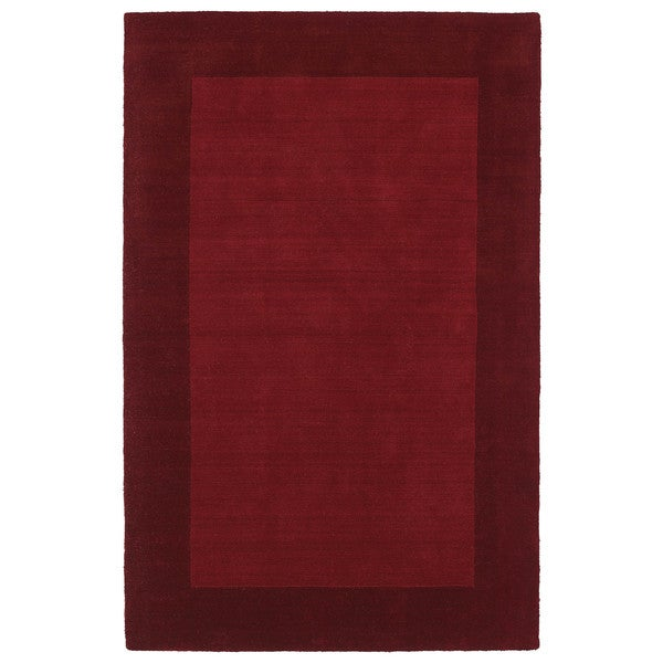 Borders Hand-Tufted Red Wool Rug - 5' x 7'9
