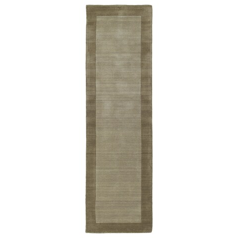 Borders Hand-Tufted Taupe Wool Rug (2'6 x 8'9)