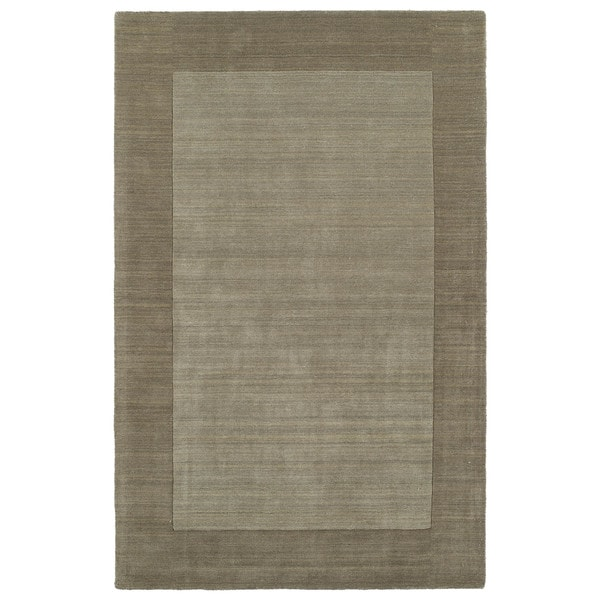 Borders Hand-Tufted Taupe Wool Rug (8'0 x 10'0) - 8' x 10'