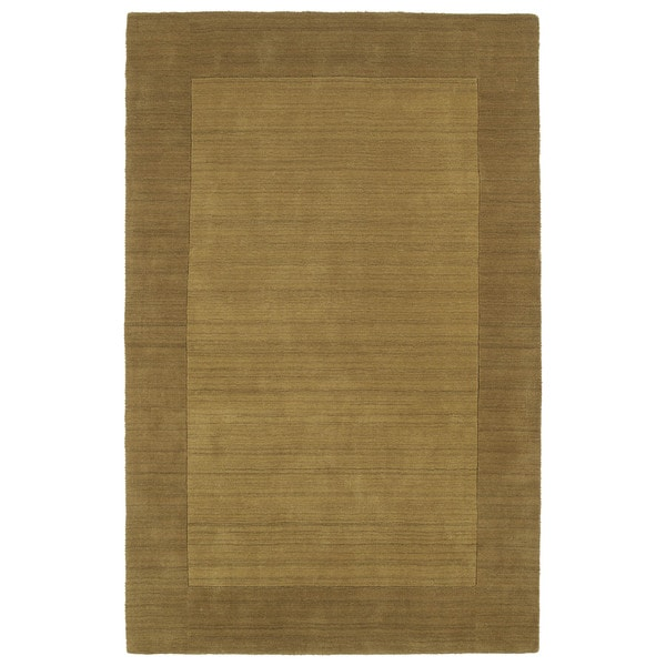 Borders Hand-Tufted Yellow Wool Rug - 9'6 x 13'