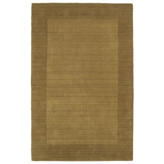 Borders Hand-Tufted Yellow Wool Rug (8'0 x 10'0)
