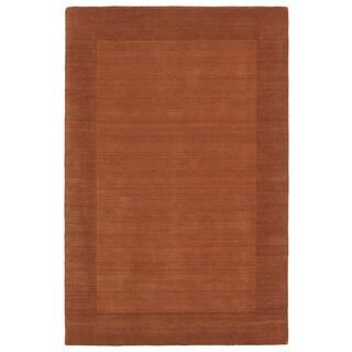 Borders Hand-Tufted Orange Wool Rug (5'0 x 7'9)