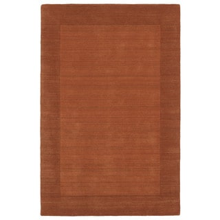 Borders Hand-Tufted Orange Wool Rug (8'0 x 10'0)