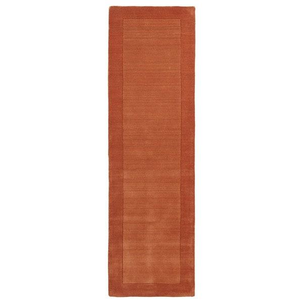 "Borders Hand-Tufted Orange Wool Rug - 2'6"" x 8'9"""