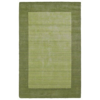 "Borders Hand-Tufted Green Wool Rug - 3'6"" x 5'3"""