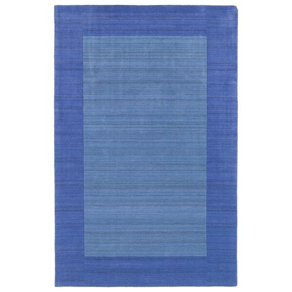 Borders Hand-Tufted Ice Blue Wool Rug (5'0 x 7'9)