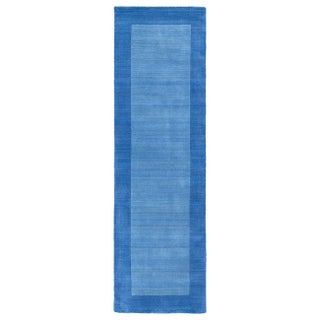 Borders Hand-Tufted Ice Blue Wool Rug - 2'6 x 8'9