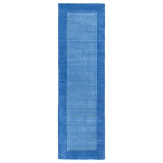 Borders Hand-Tufted Ice Blue Wool Rug (2'6 x 8'9)