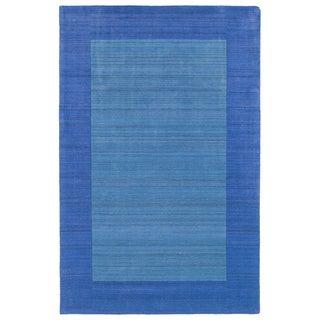 Borders Hand-Tufted Ice Blue Wool Rug (3'6 x 5'3)