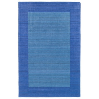 Borders Hand-Tufted Ice Blue Wool Rug (8'0 x 10'0)