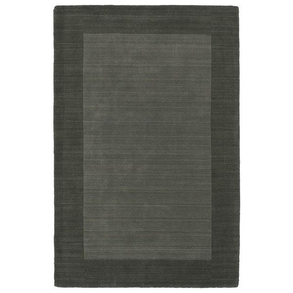 Borders Hand-Tufted Grey Wool Rug - 5' x 7'9