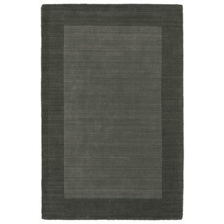 Borders Hand-Tufted Grey Wool Rug (8'0 x 10'0)