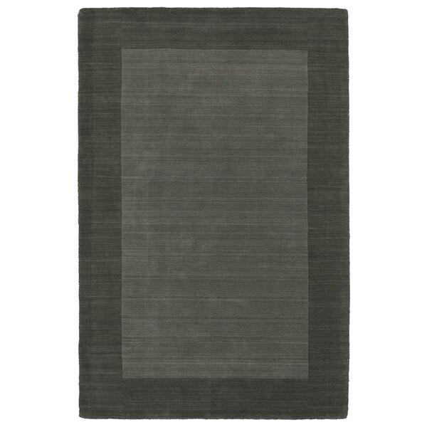 Borders Hand-Tufted Grey Wool Rug (9'6 x 13'0)