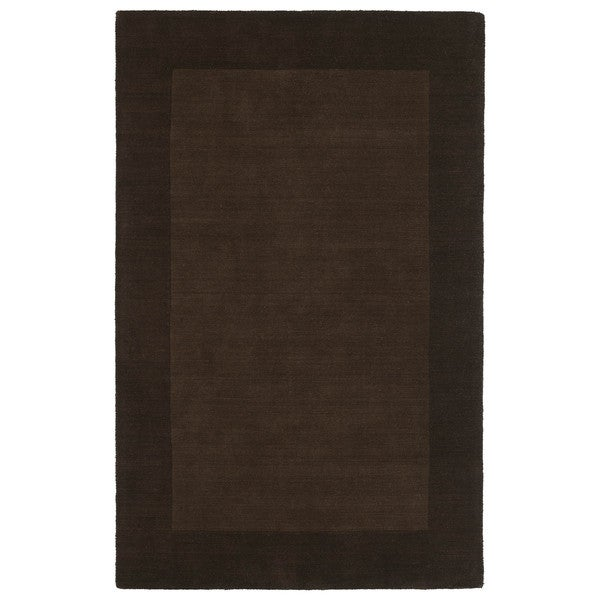 Borders Hand-Tufted Brown Wool Rug - 5' x 7'9