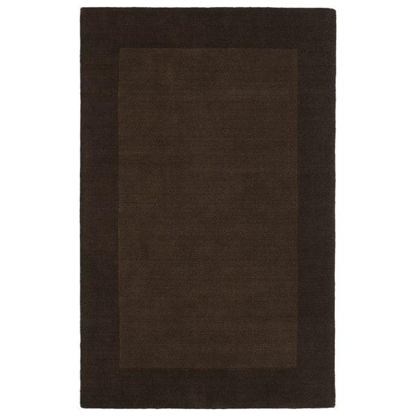 "Borders Hand-Tufted Brown Wool Rug - 3'6"" x 5'3"""