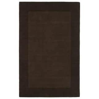 Borders Hand-Tufted Brown Wool Rug (3'6 x 5'3)
