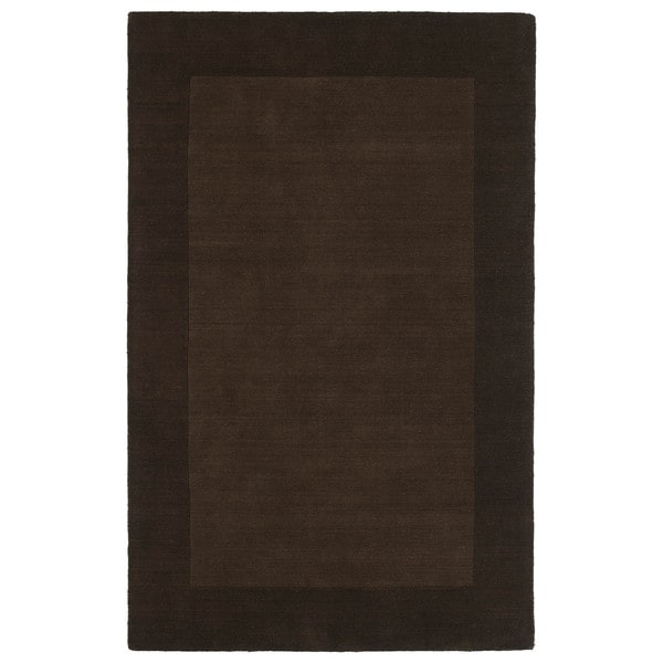 Borders Hand-Tufted Brown Wool Rug (8'0 x 10'0)