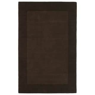 Borders Hand-Tufted Brown Wool Rug (9'6 x 13'0)