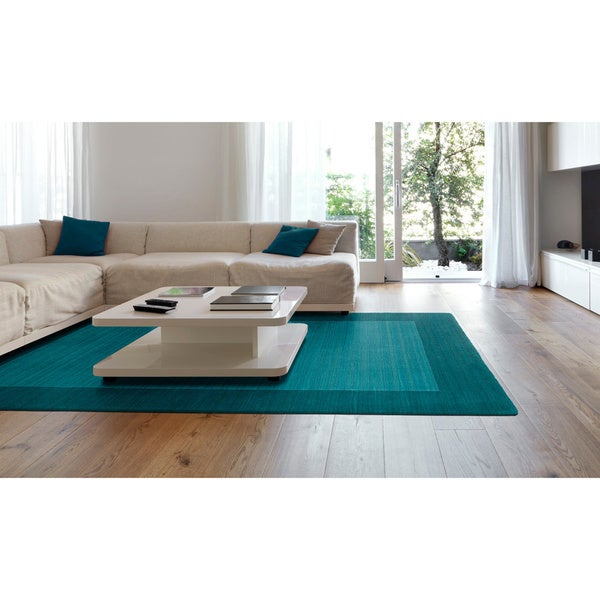 "Borders Hand-Tufted Turquoise Wool Rug - 9'6"" x 13'"