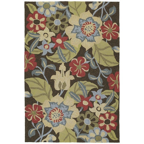 Seaside Chocolate Garden Indoor/Outdoor Rug (2'0 x 3'0)