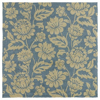 Seaside Blue Garden Indoor/ Outdoor Rug (5'9 Square)