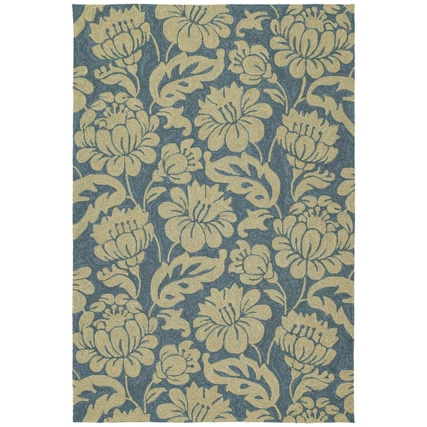 Seaside Blue Garden Indoor/Outdoor Rug (9' x 12') - 9' x 12'