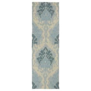 Seaside Blue Ikat Indoor/ Outdoor Rug (2'6 x 8')