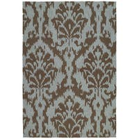 Seaside Chocolate Ikat Indoor/ Outdoor Rug (10' x 14')