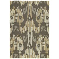 Seaside Brown Ikat Indoor/ Outdoor Rug - 10' x 14'