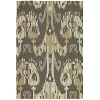 Seaside Brown Ikat Indoor/ Outdoor Rug - 5' x 7'6