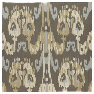 Seaside Brown Ikat Indoor/ Outdoor Rug - 5'9 x 5'9
