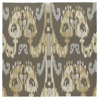 Seaside Brown Ikat Indoor/ Outdoor Rug - 7'9 x 7'9