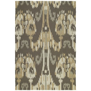 Seaside Brown Ikat Indoor/ Outdoor Rug (9' x 12')