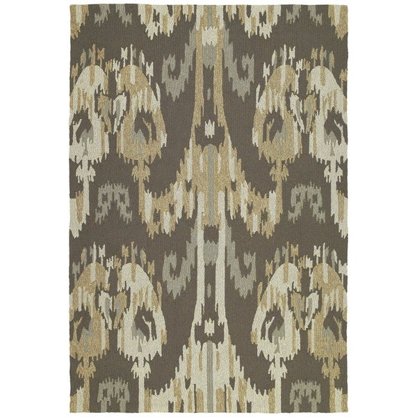 Seaside Brown Ikat Indoor/ Outdoor Rug - 9' x 12'