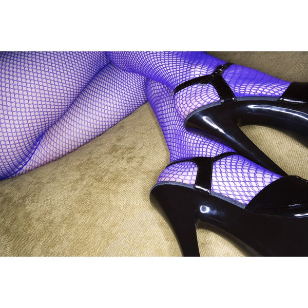 'Nude Legs in Stiletto Heels and Fishnet Stockings' Photography Print Canvas Wall Art