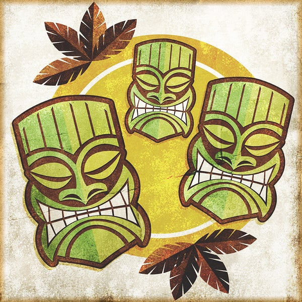 Shop \'Polynesian Tiki Masks\' Modern Canvas Print Wall Art - Free ...