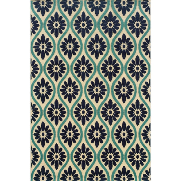 Indoor/ Outdoor Floral Ivory/ Blue Area Rug (7'10 x 10'10)