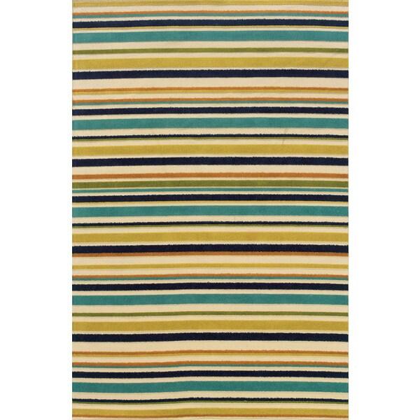 Indoor/ Outdoor Geometric Ivory/ Blue Area Rug (7'10 x 10'10)