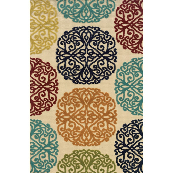 Indoor/ Outdoor Abstract-pattern Ivory/ Multi Area Rug (7'10'' x 10'10'')