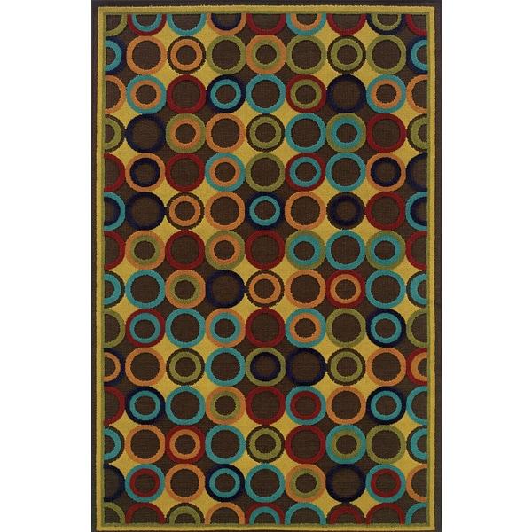 Indoor/Outdoor Brown/ Multi Area Rug (7'10 x 10'10)